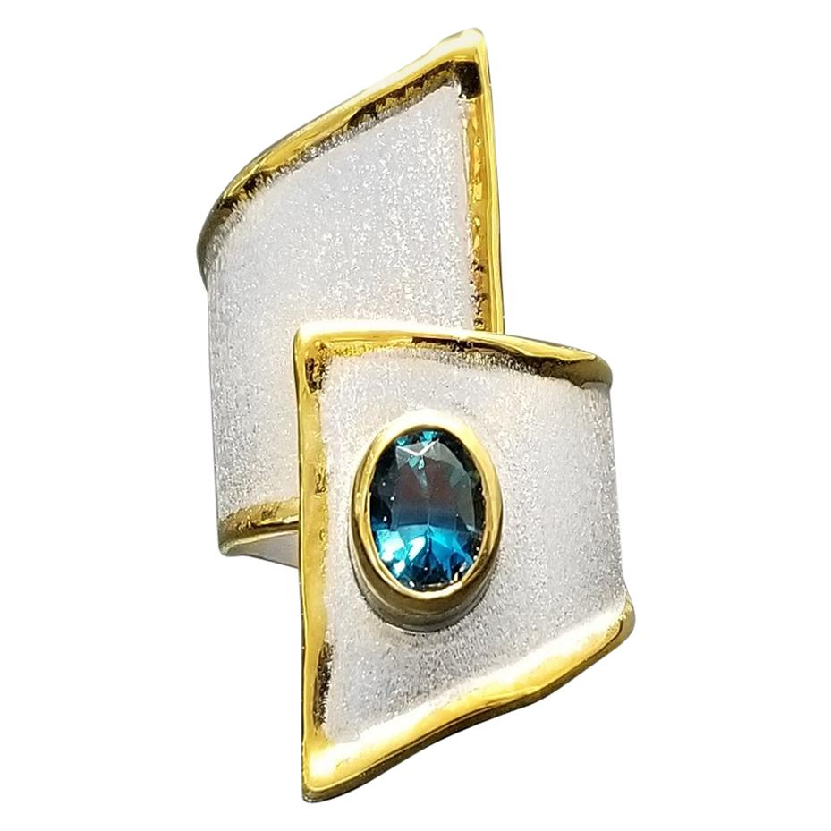 Yianni Creations Blue Topaz Fine Silver and 24 Karat Yellow Gold Wide Band Ring