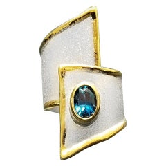 Yianni Creations 1.60 Carat Blue Topaz Fine Silver and 24 Karat Yellow Gold Ring
