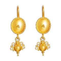 24 Karat Pure Gold Handcrafted Shield Form Granulated Amphora Earrings