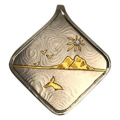 Damascus Steel Pendant and 24 Karat Gold Inlay-Mountains