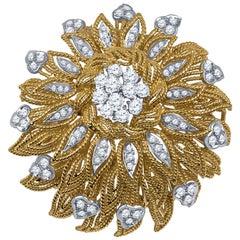 4.60 Carat Total Weight Diamond Brooch in 18 Karat Yellow Gold