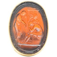 1920s Achilles Glass Intaglio 14 Karat Gold Men's Ring