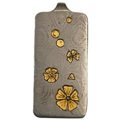 Damascus Steel Pendant and 24 Karat Gold Inlay-Dropping Flowers