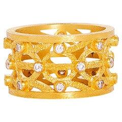 24 Karat Reines Gold Handgefertigter Rund Gemusterter Ewiger Ring