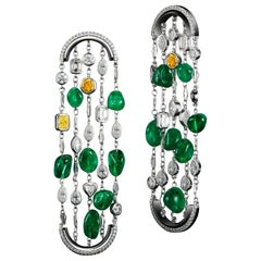 Alexandra Mor One-of-a-Kind Diamonds and Muzo Emerald Nuggets Arched Earrings