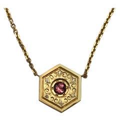 Hexagon Necklace in 14 Karat Gold and Gems-Pink Sapphire Flower