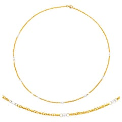 24 Karat Pure Gold Handcrafted Ottoman Lovers Chain with Diamond Briolettes