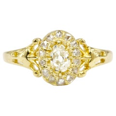 Yellow Gold Victorian Old Mine Cut Oval Ring Set with Rose Cut Diamonds