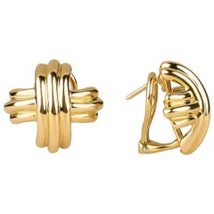 Tiffany & Co. Signature X Design Earrings in 18 Karat Yellow Gold