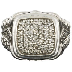 Scott Kay Sterling Silver Pave Diamond Large Basket Weave Ring