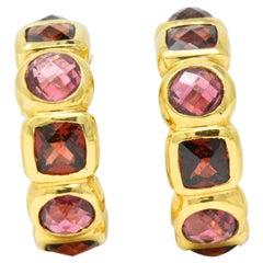 David Yurman Garnet Tourmaline 18 Karat Gold Earrings