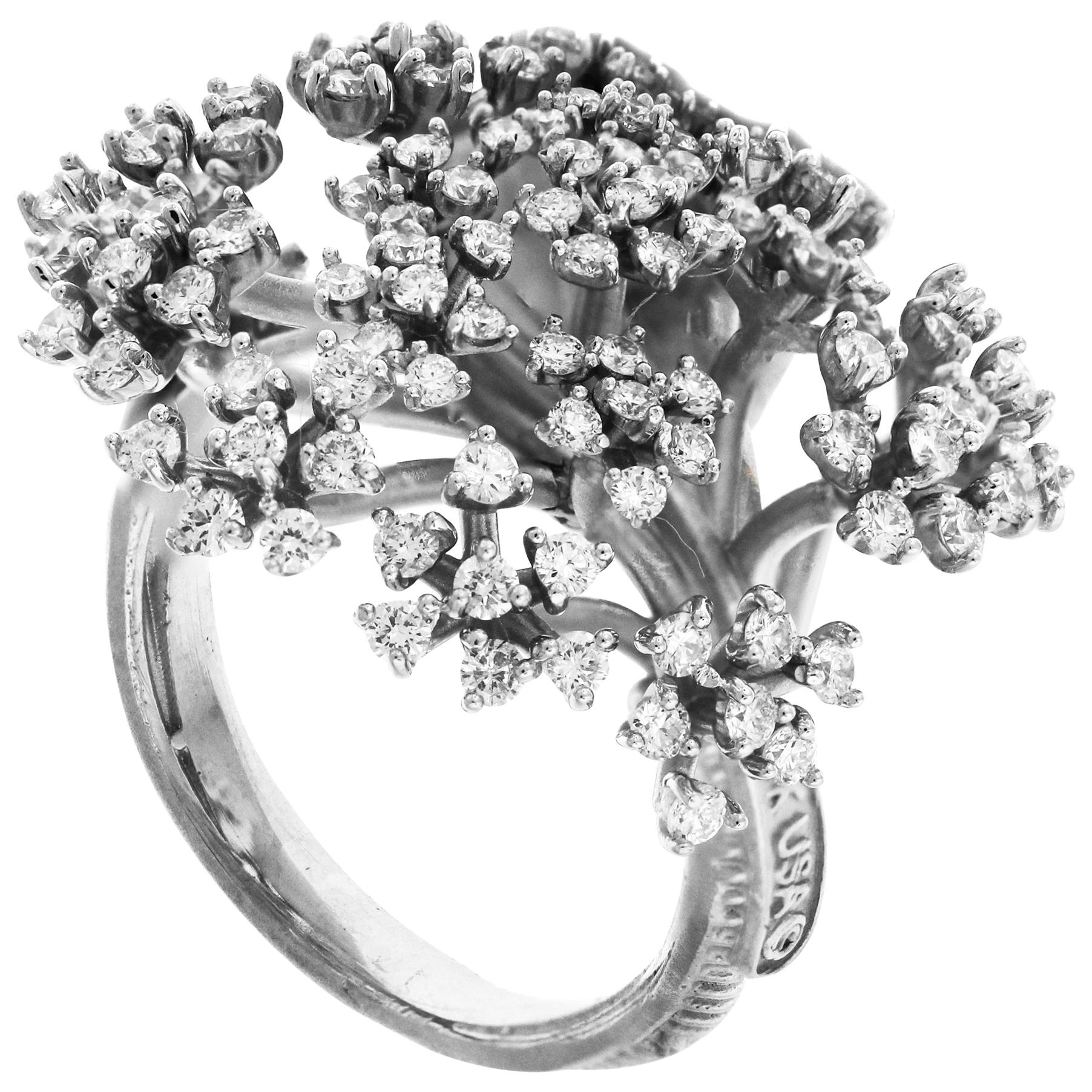 White Gold and Diamond Cocktail Ring Stambolian
