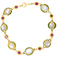 Art Nouveau 22.60 Carat Star Sapphire Pink Sapphire Enamel 14 Karat Bracelet