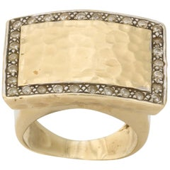 Diamond and Hand-Hammered Gold Ring