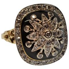 Diamond Burst on Black Enamel 14k Yellow Gold Antique Style Cocktail Ring