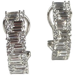 1.71 Carat Diamond Hoop Earrings in 18 Karat White Gold