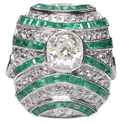 Handmade Platinum 2.13 Carat Diamond and Emerald Ring