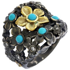 Turquoise Sterling Silver Gold and Diamond Flower Ring Stambolian