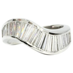JB Star Platinum Baguette Diamond Wave Ring