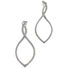1.12 Carat Diamond Hoop Swirl Earrings in 18 Karat White Gold