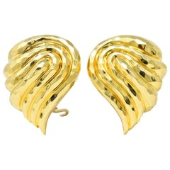 Henry Dunay Contemporary 18 Karat Gold Ear-Clips