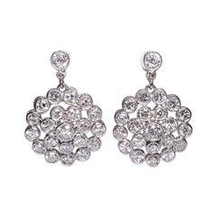 Estate Platin 2.90 Karat Diamant Ohrringe