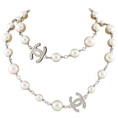 Chanel Glass Pearl and 5 Crystal CC Strand Necklace with Box and Pouch