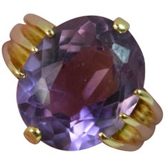 Heavy 1900 Victorian 18 Carat Gold and Large Amethyst Solitaire Ring