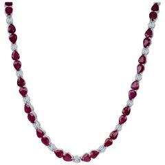 50.40 Carat Total Burmese Rubies, 4.20 Carat Diamonds in 18 Karat Gold Necklace