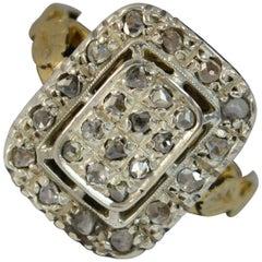 Antique 18 Carat Gold and Rose Cut Diamond Rectangular Panel Cluster Ring