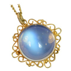 Victorian Large Moonstone Solitaire and 9 Carat Gold Pendant and Chain