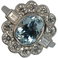 18 Carat White Gold Aquamarine and 1 Carat Old Cut Diamond Cluster Ring