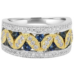 Blue Sapphire Round White Diamond Two-Color Gold Cocktail Fashion Band Ring