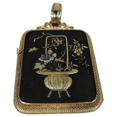 Fabulous Antique Japanese Shakudo Locket with Peacock and Mount Fuji