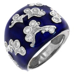 Stambolian White Gold and Cobalt Blue Enamel Diamond Ring