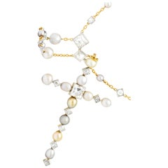 Edwardian 16.31 Carat Diamond Natural Pearl Platinum 18 Karat Rosary or Necklace