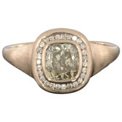 Rose Gold Fancy Brown Cushion Diamond GIA Certified Halo Engagement Ring