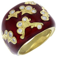 Enamel and Yellow Gold Ring with Diamonds Stambolian