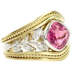 18 Karat Two-Tone Pink Tourmaline and Diamond Leaf Ring