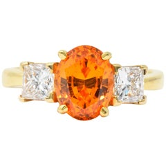Contemporary 4.60 Carat Spessartite Garnet Diamond 18 Karat Gold Ring