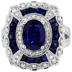 1.71 Oval Sapphire 2.80 Carats Baguettes Diamond 14K White Gold Cocktail Ring