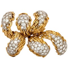 18 Karat Gold Tiffany & Co. Brooch or Pin with over 8 Carat Diamonds