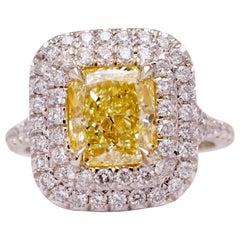 Fancy Yellow 2.03 Carat GIA Certified Diamond Cocktail Ring