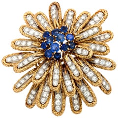 Van Cleef & Arpels Diamond and Sapphire Brooch / Pin
