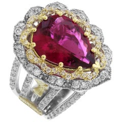 Stambolian Yellow and White Gold Pear Shape Rubellite Tourmaline Ring