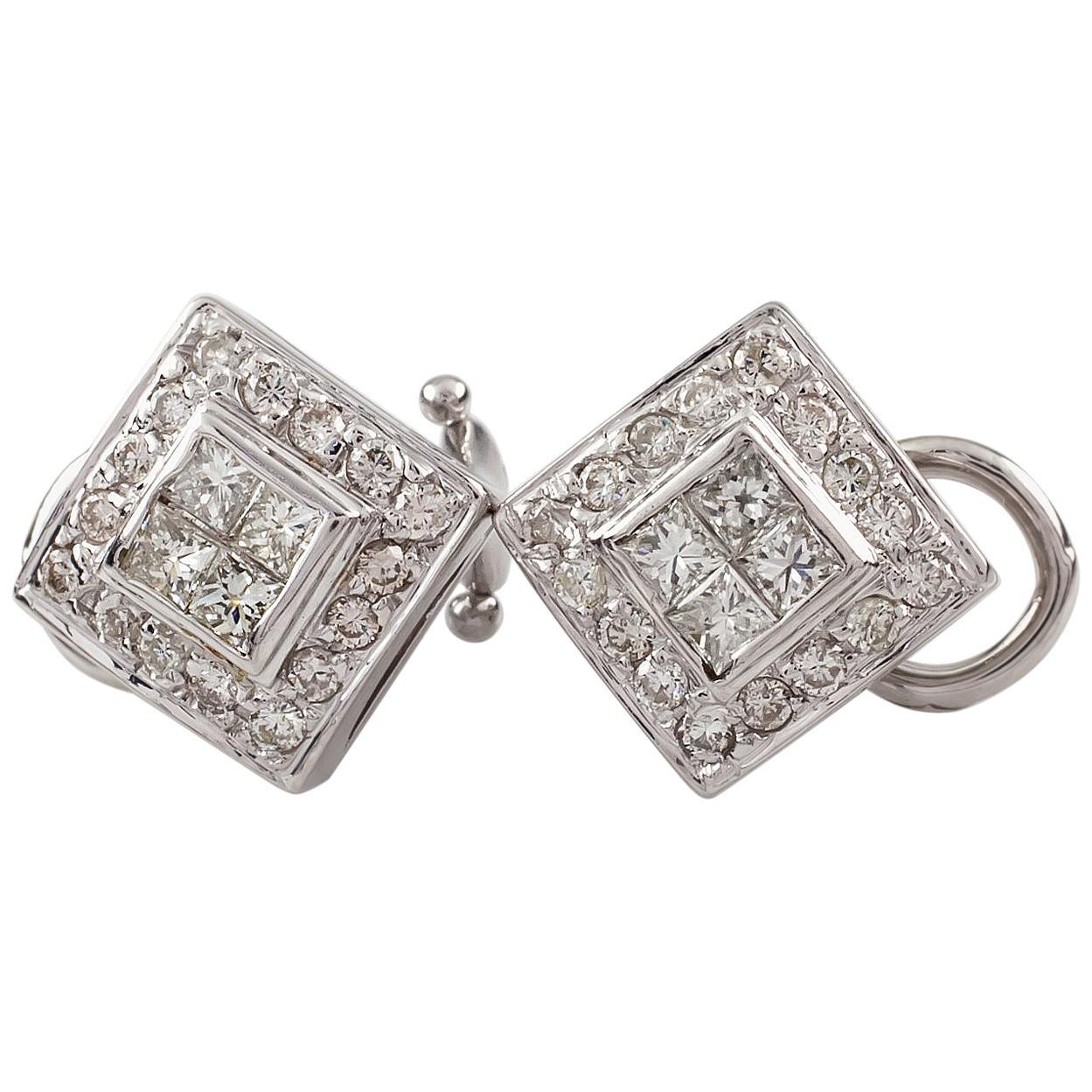 0.85 Carat Multirow Diamond Earrings