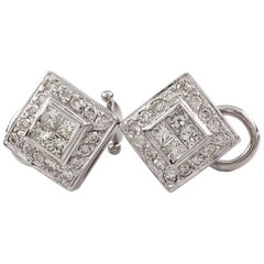 1.80 Carat Diamond 18 Karat White Gold Plaque Earrings with Omega Backs