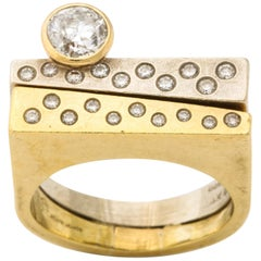 Modernist Two-Color Gold Ring with Diamonds