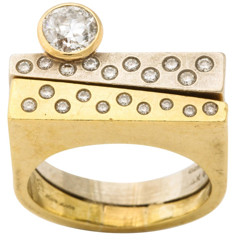 Modernist Two-Color Gold Ring with Diamonds For Sale