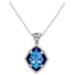 2.49 Carats Aquamarine Sapphire Diamond 14K White Gold Scalloped Necklace